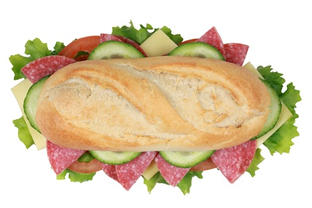 sub sandwich: Top view of a sandwich with pepperoni, cheese, tomatoes, lettuce and cucumber