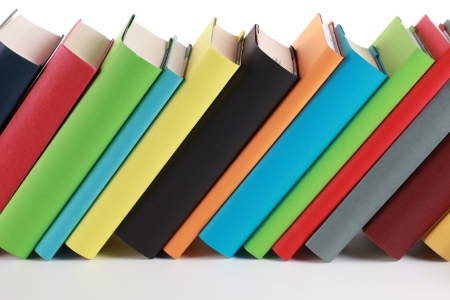 spines: Colorful books with lots of copyspace for your own text on the book spines