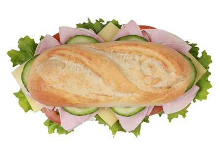 sub sandwich: Top view of a sandwich with ham, cheese, tomatoes, lettuce and cucumber