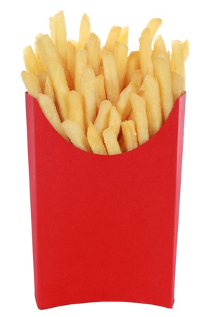 French fries in a box, isolated on white photo