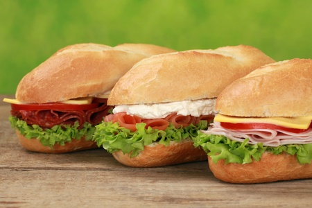 sub sandwich: Sub Sandwiches with pepperoni, ham, salmon, cheese, tomatoes and lettuce  Stock Photo