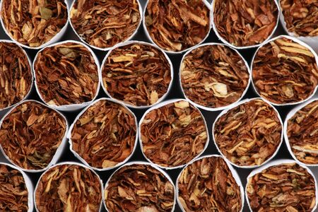 Collection of cigarettes forming a background with copy space Stock Photo