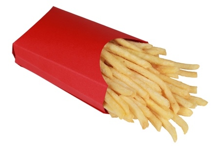 French fries in a box, isolated on a white background photo