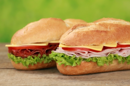Sub Sandwiches with salami, ham, cheese, tomatoes and lettuce photo