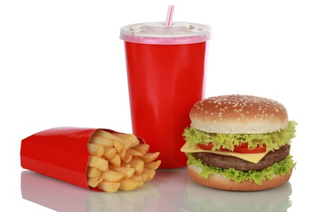 Cheeseburger meal with french fries and a cola drink, isolated on white