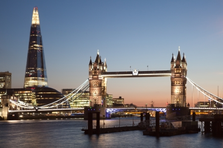 London Tower Bridge and The Shard at night