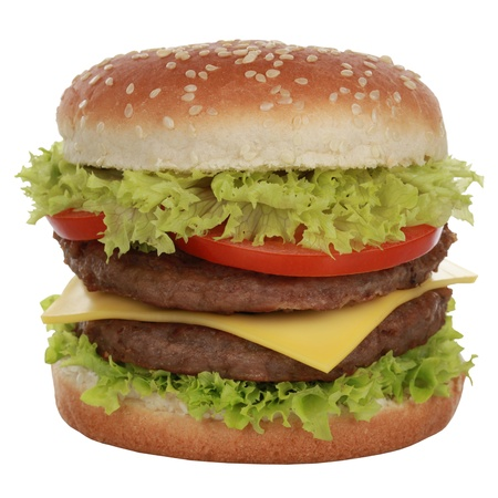 Double Cheeseburger with beef, tomatoes, lettuce and cheese, isolated on white photo