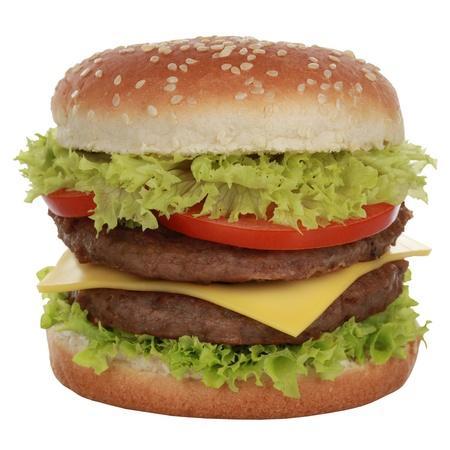 Dubbele cheeseburger met rundvlees, tomaten, sla en kaas, geïsoleerd op wit Stockfoto - 21378275