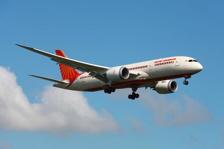 London Heathrow, United Kingdom - May 25, 2013: An Air India Boeing 787 Dreamliner with the registration VT-ANK on approach to London Heathrow Airport (LHR) in the United Kingdom. The Boeing 787 Dreamliner is the world's first major airliner to use compos