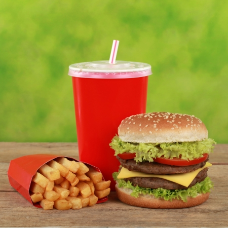 combo: Double Cheeseburger combo meal with french fries and a cola drink Stock Photo