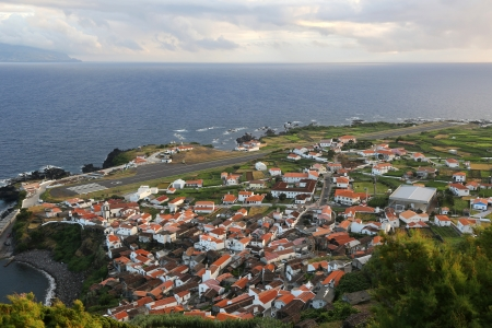 Panorama of the island of Corvo Azores Portugal photo