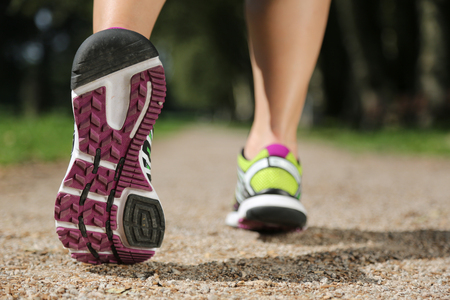 Running shoes while jogging, sports, training or workout