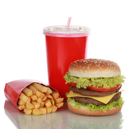 combo: Double Cheeseburger meal with french fries and a cola drink, isolated on white