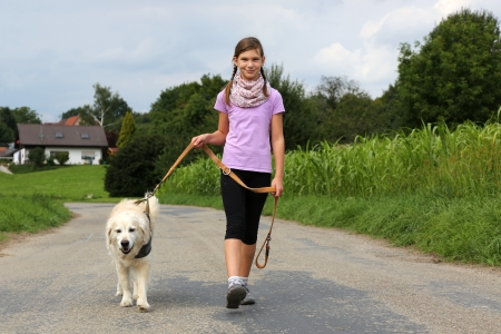walk in: Little girl taking a dog for a walk outdoors in nature