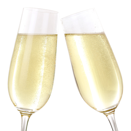clinking: Clink glasses with two glasses filled with sparkling Champagne Stock Photo