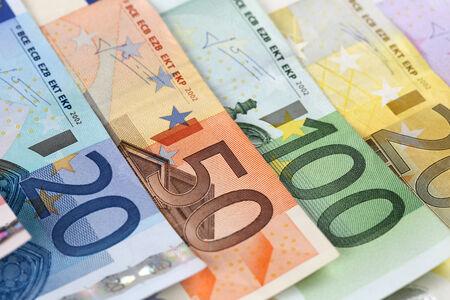 european union currency: Todos los billetes de euro de la Uni�n Monetaria Europea Foto de archivo