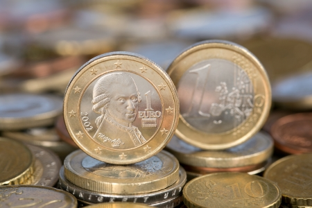 A one Euro coin from the EU member country Austria with Mozart photo