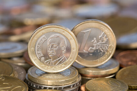 carlos: A one Euro coin from the EU member country Spain with King Juan Carlos