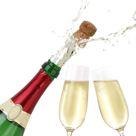 popping cork: Popping cork from a Champagne bottle, isolated on white
