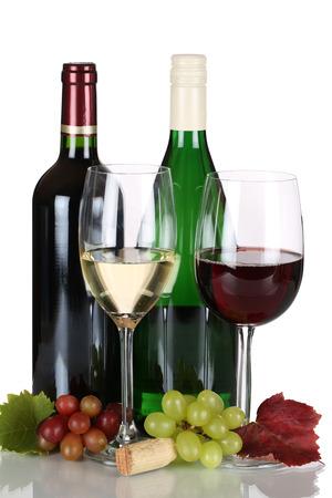 赤と白で隔離ボトル白ワイン