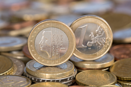 beatrix: A one Euro coin from the EU member country Netherlands with Queen Beatrix Stock Photo