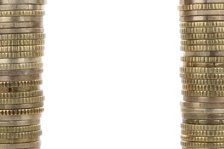 european union currency: Monedas de oro en euros de la Uni�n Europea moneda, formando un marco Foto de archivo