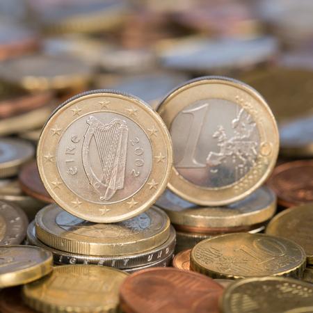 european union currency: Una moneda de un euro de la moneda de los pa�ses miembros de la Uni�n Europea Irlanda