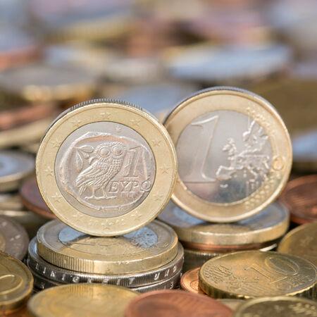 european union currency: Una moneda de un euro de la moneda de los pa�ses miembros de la Uni�n Europea Grecia