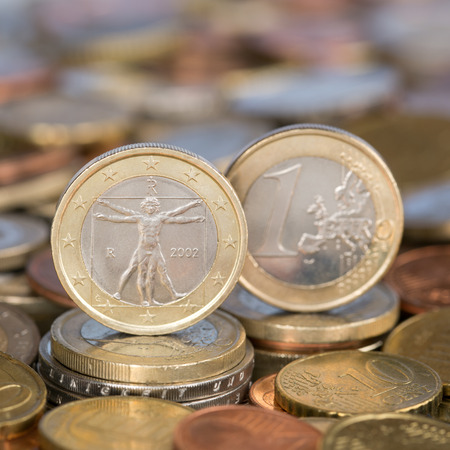 A one Euro coin from the European Union currency member country Italy Stock Photo