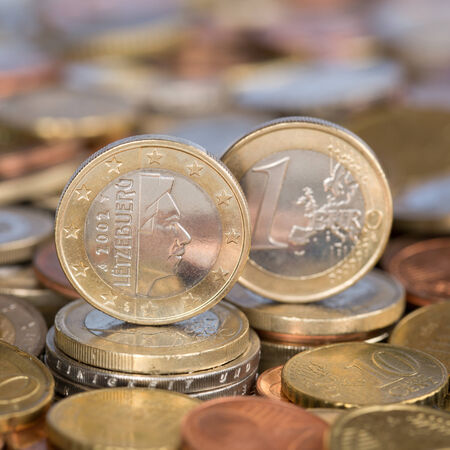 european union currency: Una moneda de un euro de la moneda de los pa�ses miembros de la Uni�n Europea de Luxemburgo
