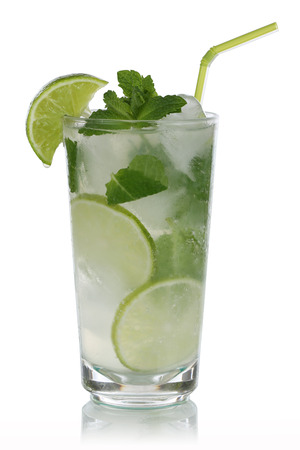 longdrink: Mojito cocktail isolated on a white background Stock Photo