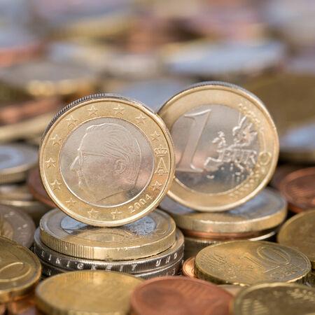 european union currency: Una moneda de un euro de la moneda de los pa�ses miembros de la Uni�n Europea B�lgica