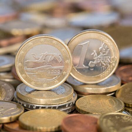 european union currency: Una moneda de un euro de la moneda de los pa�ses miembros de la Uni�n Europea Finlandia