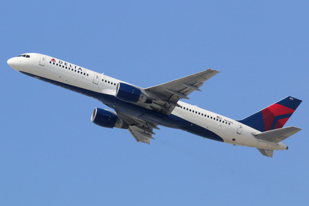 Los Angeles, California - April 18, 2014: A Delta Air Lines Boeing 757-200 with the registration N655DL takes off from Los Angeles International Airport (LAX) in California. Delta Air Lines is the worlds largest airline with 733 planes and some 160 milli Editorial