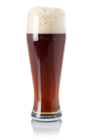 beer foam: Red Ale beer in a glass with foam, isolated on a white