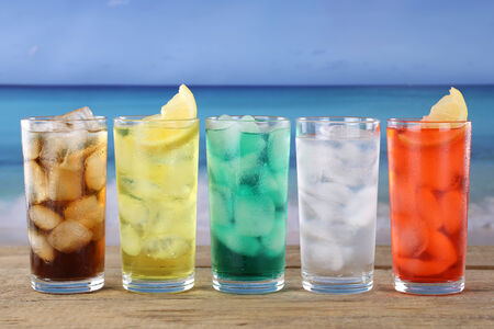 soft drinks: Cola and lemonade soda or soft drinks on the beach