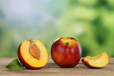 copyspace: Fresh nectarine fruits in summer with copyspace