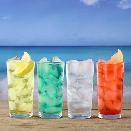 Lemonade soda or soft drinks on the beach and at the sea