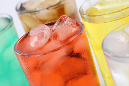 soft drinks: Colorful lemonade soda drinks, soft drinks in glasses with ice cubes