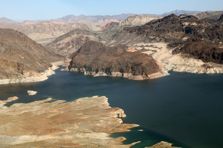 Lake Mead reservoir with drought visible on the Colorado River in Nevada and Arizona in the USA photo