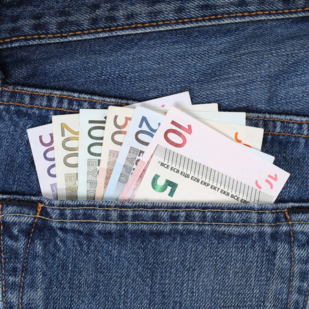 stealing money: All current Euro notes in trouser pocket pickpockets topic