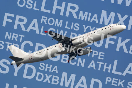 taking off: Airplane or aircraft taking off with airport codes abbreviations