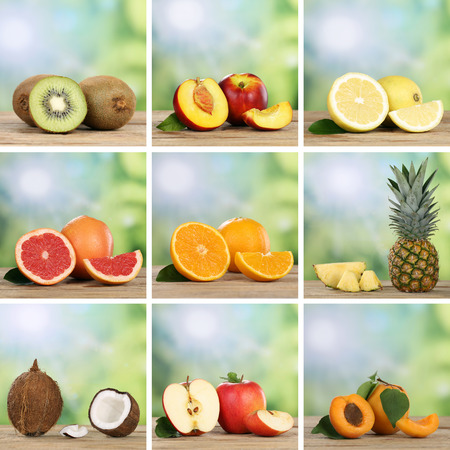 kiwis: Collection of fruits like oranges, kiwis, peaches, pineapple, lemons and apples