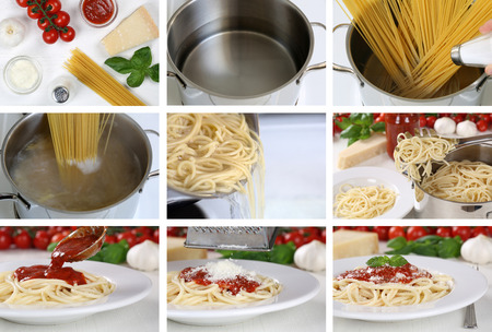 Cooking spaghetti noodles pasta with tomato sauce and basil: step by step instruction photo