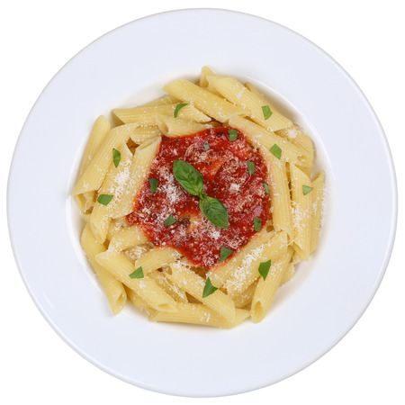 napoli: Penne Rigate Napoli with tomato sauce noodles pasta meal on a plate isolated
