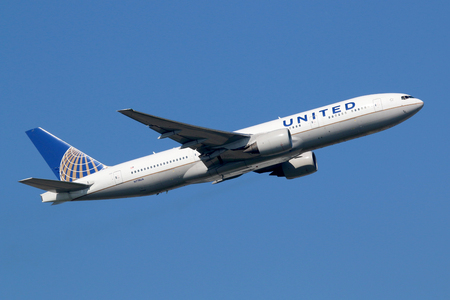 airline: Frankfurt, Germany - September 17, 2014: A United Airlines Boeing 777-200 with the registration N778UA takes off from Frankfurt Airport (FRA) in Germany. United Airlines is headquartered in Chicago, Illinois. Editorial