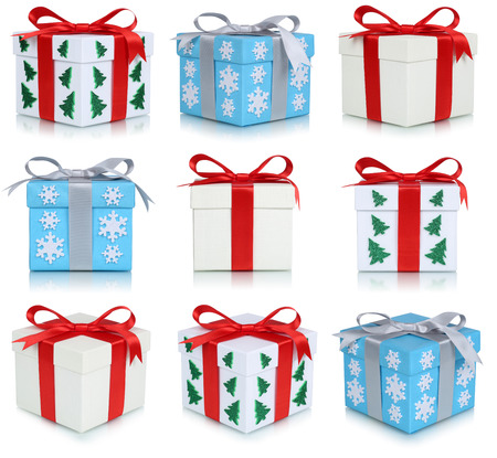christmas gift: Christmas gift boxes set of gifts isolated on a white
