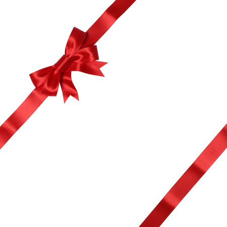 red ribbon: Greeting card on gift with bow for gifts on Christmas or Valentines day isolated on a white