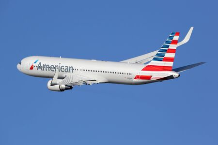 Barcelona, Spain - December 11, 2014: An American Airlines Boeing 767-300 with the registration N349AN taking off from Barcelona Airport (BCN) in Spain. American Airlines is the worlds largest airline with 619 aircraft and 108 million passengers. It is h Redakční