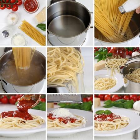 istruzione: Cooking spaghetti cibo pasta con salsa di pomodoro e basilico passo per passo le istruzioni